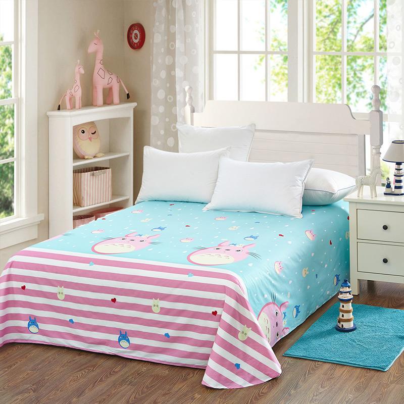 当当优品 纯棉斜纹床上用品 床单250*230cm 俏皮龙猫当当自营 100%纯棉 不易褪色 0甲醛 透气防潮 大尺寸