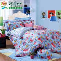 富安娜家纺圣之花床上用品全棉儿童四件套卡通纯棉套件快乐海洋