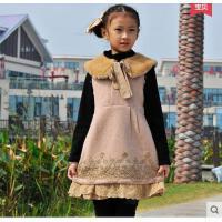 新款童装中大儿童羊毛呢子背心裙加厚送打底衫秋冬装女童连衣裙