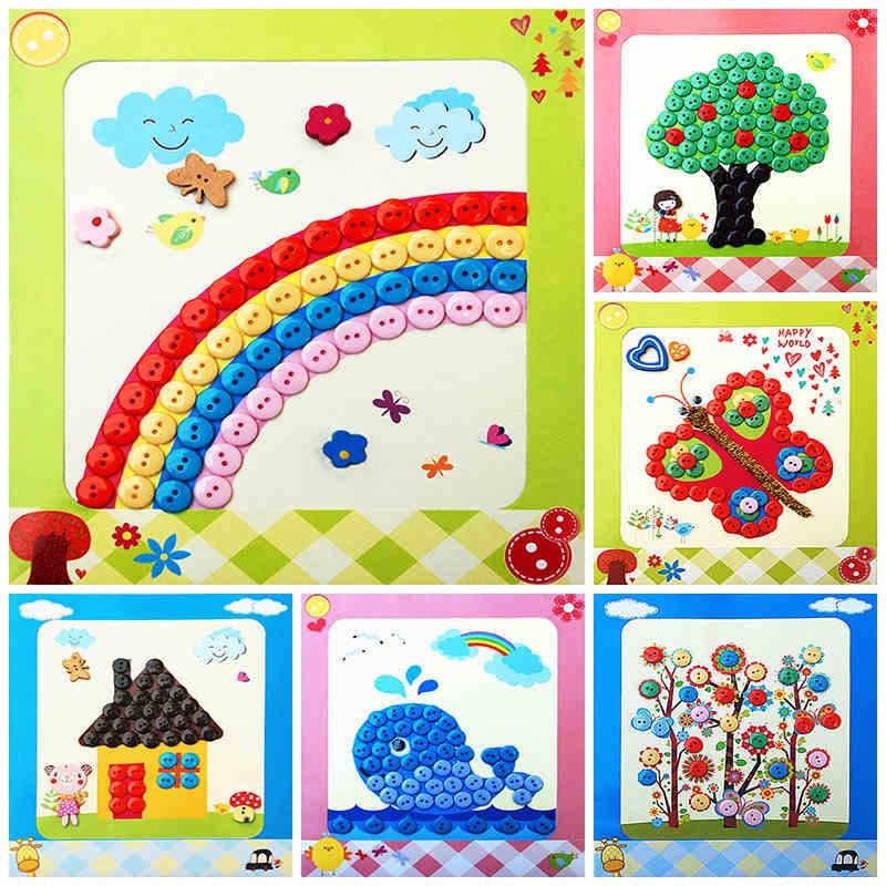 儿童手工制作钮扣子幼儿园粘贴画装饰画玩具