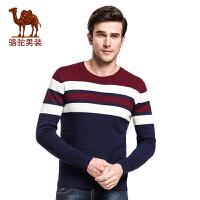 骆驼&熊猫联名系列男装 时尚青年韩版套头圆领条纹针织衫毛衣潮男