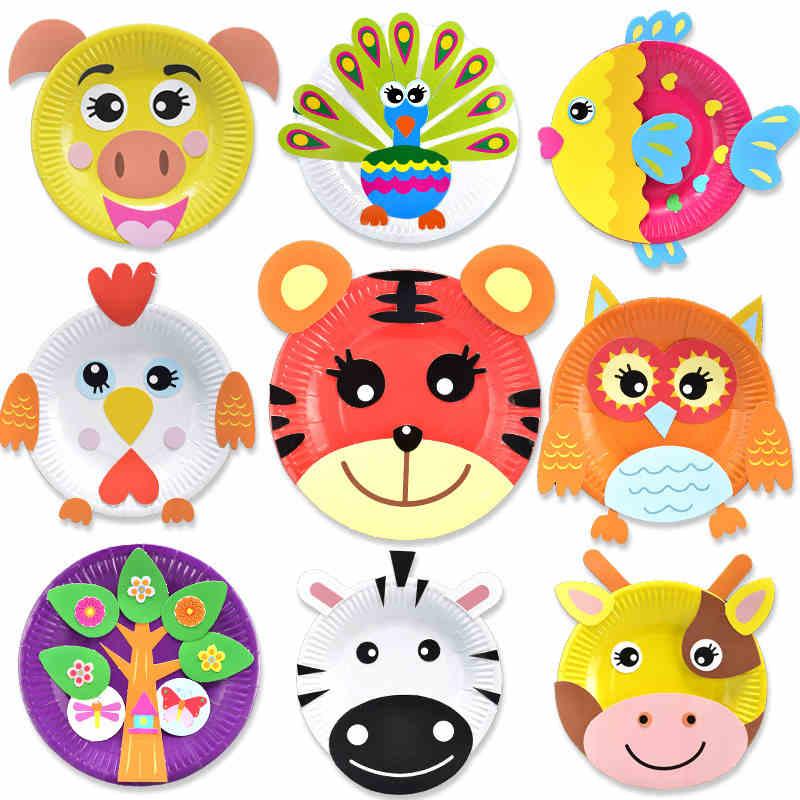 芙蓉天使儿童手工diy制作材料包纸盘子画幼儿园益智创意贴画玩具