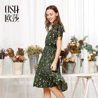 【女装盛典 2件5折】OSA欧莎夏装女2017夏装新款女装 性感V领时尚印花收腰连衣裙S117B13035
