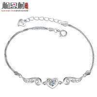 相思树 纯银手链 女 韩版多层 爱情的羽翼紫水晶手链 925银饰品SL051