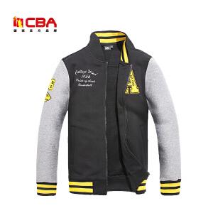 CBA男子开衫运动卫衣秋冬运动服 韩版修身棒球衫运动外套男