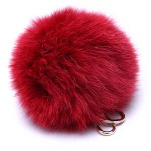 FURLA芙拉黑色蓝狐毛球女士钥匙扣