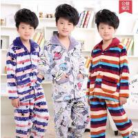 男童睡衣 家居服套装 加厚睡衣 男孩加厚款法兰绒儿童睡衣长袖男童珊瑚绒家居服宝宝大童装