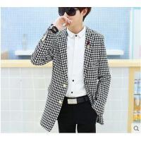 新款青少年学院风格子风衣男中长款修身大衣韩版时尚潮牌外套