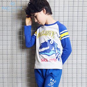 派克兰帝童装秋装 男童女童图案系列落肩袖长袖T恤