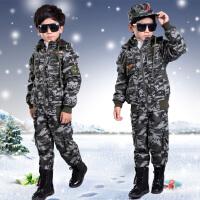 童装 迷彩服冬装 男童冬季迷彩套装 加绒加厚军装套装 活动训练服