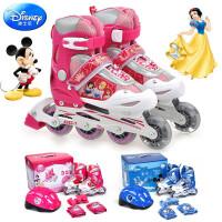 迪士尼儿童轮滑旱冰鞋溜冰鞋套装配头盔护具前轮闪光