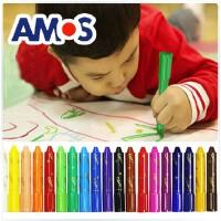 韩国进口amos阿摩司蜡笔宝宝油画棒12色24色儿童画笔套装旋转无毒