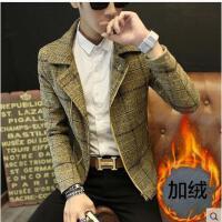 韩版时尚新款男士毛呢外套夹克男青年修身韩版格子呢大衣加绒潮