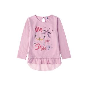 派克兰帝Paclantic 女童闪粉印花针梭织拼接连衣裙式长袖T恤