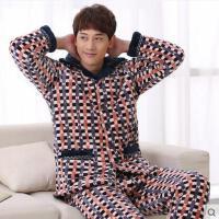 男家居服套装 加厚睡衣 珊瑚绒夹棉睡衣男加厚法兰绒睡衣长袖棉袄家居服套装