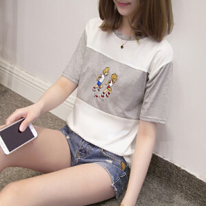 夏装原宿BF刺绣拼色短袖体恤韩版潮学生百搭半袖大码女装JM028-7114
