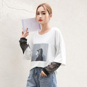 韩版亮丝拼接假两件图案宽松女T恤原宿风GT759-7357