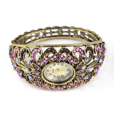 民族风时尚个性手镯复古合金开口手环饰品女欧美风情手表_圆形表紫色