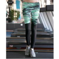 女式有弹性紧身运动裤跑步健身瑜伽休闲长裤速干拼接印花小脚弹力九分