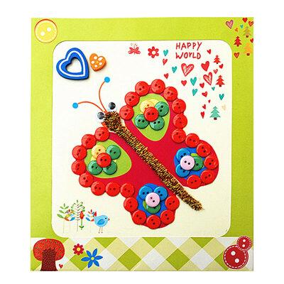夢童工坊 diy紐扣畫 兒童手工制作鈕扣子幼兒園粘貼畫裝飾畫玩具_蝴蝶
