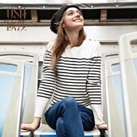 【2件7折,3件6折】OSA欧莎女装2016冬装新款经典条纹长袖毛针织衫D14104