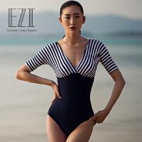 弈姿EZI温泉海军风遮肚显瘦修身连体中袖保守三角女游泳衣1161