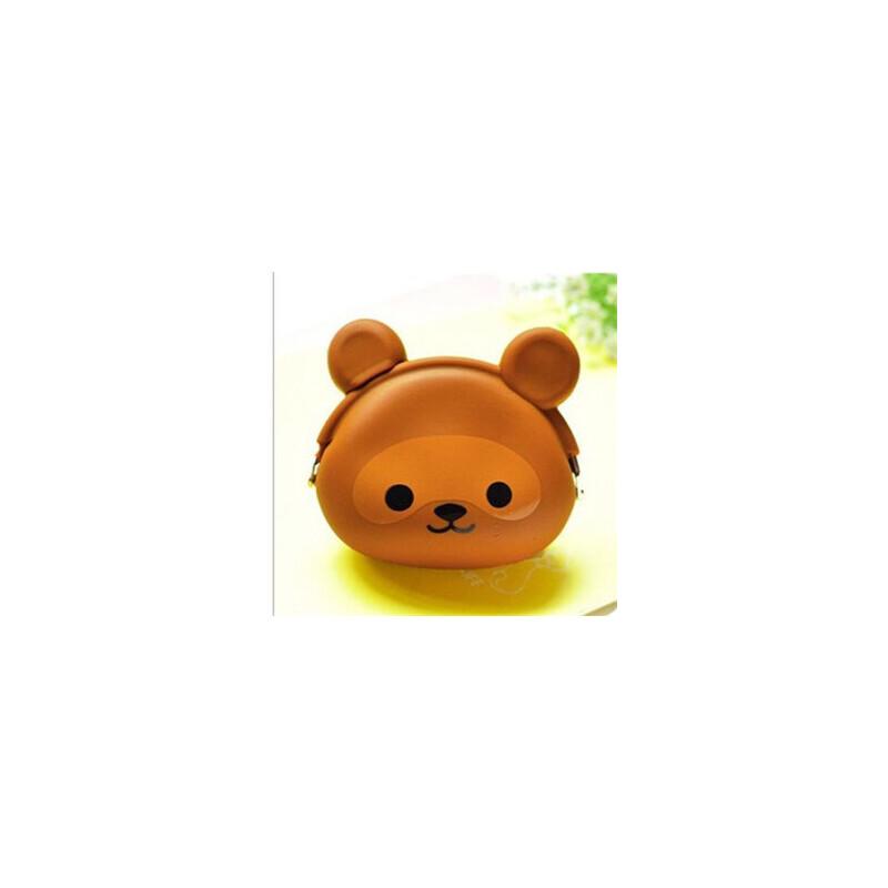 色可爱动物 硬币包 文件袋小包钥匙包卡通硅胶女零钱包_咖啡色小熊