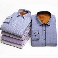 保罗琼诗男装加绒长袖衬衫男士商务休闲免烫格子衬衣韩版修身大码上衣