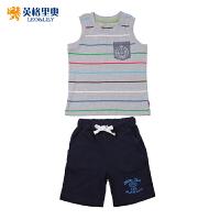 英格里奥童装夏装童装中大童背心套装 男童无袖运动套装LLB9525S