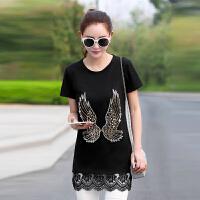 【仅限今日,下单立减30】夏季新品女装韩版下摆蕾丝修身中长款t恤短袖JME048-0268