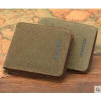 学生零钱包  男短款横款钱夹 男士钱包 女士帆布休闲卡包   多卡位包包
