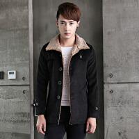 新款秋冬韩版中长款男士毛呢大衣羊羔毛翻领呢子外套男