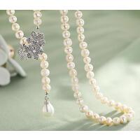 毛衣链 女 天然淡水珍珠 韩国AAA级 锆石 时尚 1珠宝项链