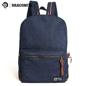 DRACONITE潮牌韩版休闲牛仔布女双肩书包撞色迷彩电脑旅行包11006