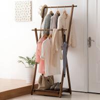 家逸 简约松木衣帽架客厅卧室衣服架创意落地挂衣架折叠晾衣架