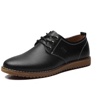 格罗堡春季新款时尚商务休闲鞋男鞋韩版潮流男士户外休闲皮鞋真皮大码鞋男款