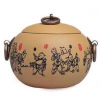 宜兴紫砂茶叶罐印花童戏醒茶罐茶道配件普洱储存罐