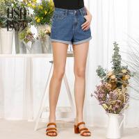 OSA欧莎2017夏季新款女装简约蓝色百搭休闲牛仔短裤S117B53009