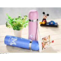 迪士尼 保温杯500ml 不锈钢真空保温杯女士旅行壶 车载便携儿童水杯子 0935粉色350ml
