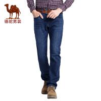 骆驼男装加绒加厚牛仔裤   冬季宽松商务休闲中腰长裤子男