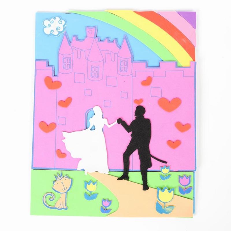 diy手工制作王子与公主3d城堡泡沫拼图