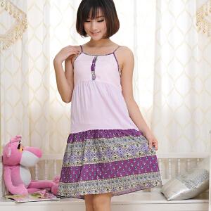 金丰田夏季女士吊带可爱无袖睡裙家居裙