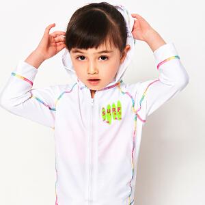 弈姿EZI童装 彩色绷缝线 女童连帽冲浪服拉链外套12018