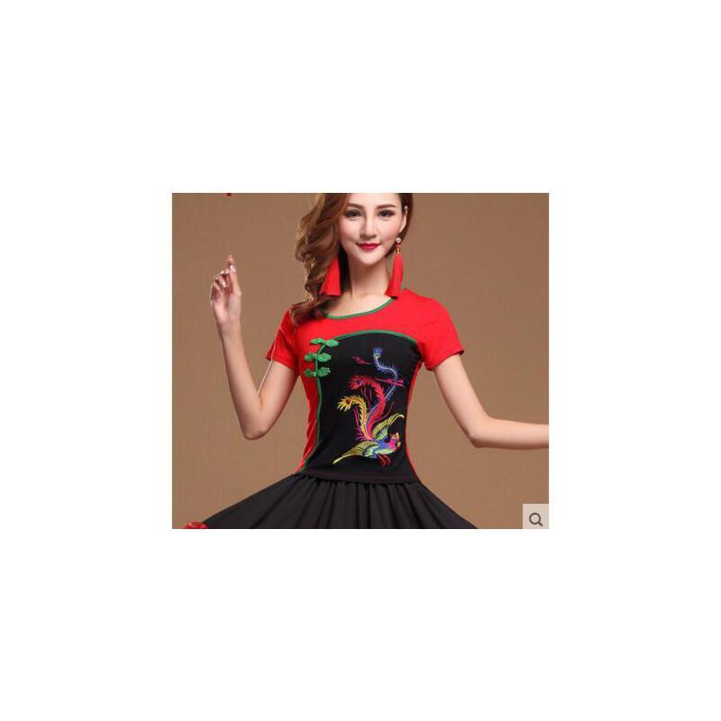 中老年个性民族风简约圆领短袖 精致印花 舞蹈服 裙摆透气广场舞服装