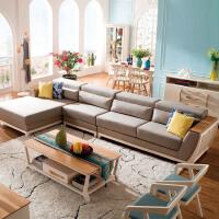 御品工匠 实木沙发 北欧简约 L形橡木全实木转角沙发客厅贵妃位组合 B09转角沙发