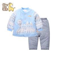 童泰2016秋冬新品儿童套装男女宝宝棉衣套装加厚卡通对开外出服