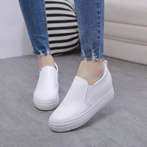 智升2017春季新款小白鞋套脚懒人鞋韩版厚底内增高皮面帆布鞋
