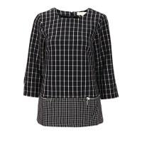 Michael Kors迈克・科尔斯黑色格纹时尚女士七分袖外套银泰