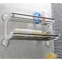 家居3代40cm吸盘双层收纳置物架厨卫不锈钢浴巾架1804