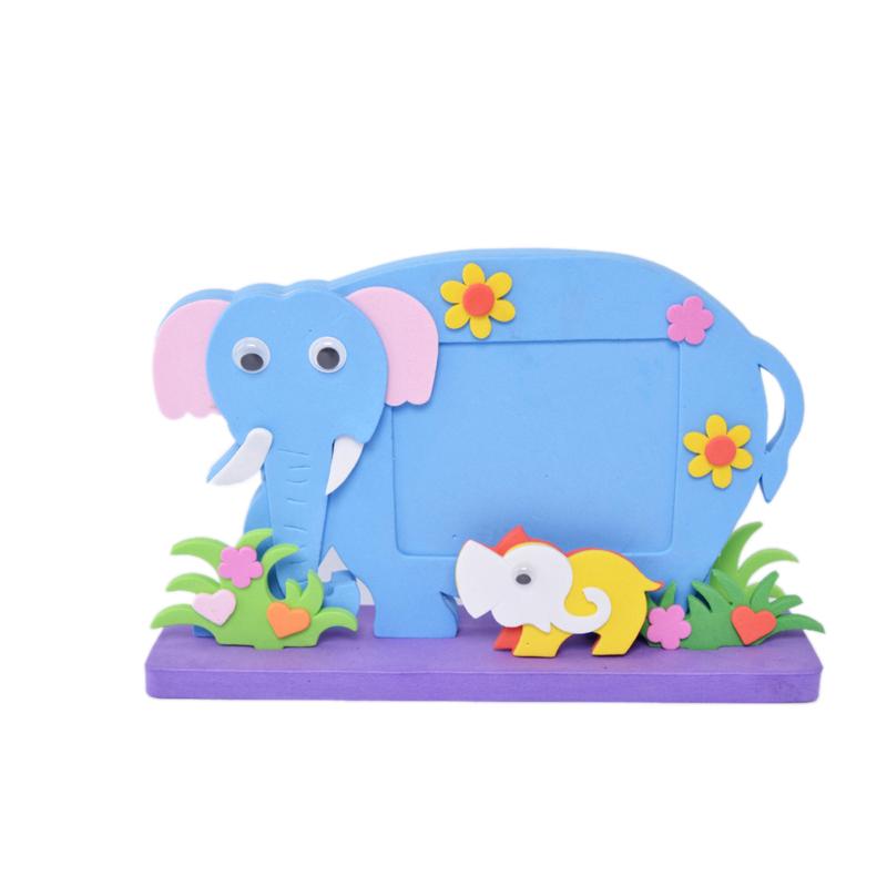 儿童立体相框 eva粘贴画 diy儿童益智玩具圆底方底 立体相框_大象